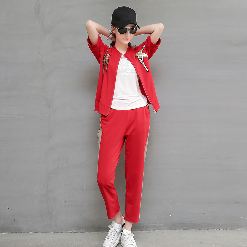 Korean version of the small children early summer paragraph slim leisure suit sports suit summer paragraph short summer dress child summer women