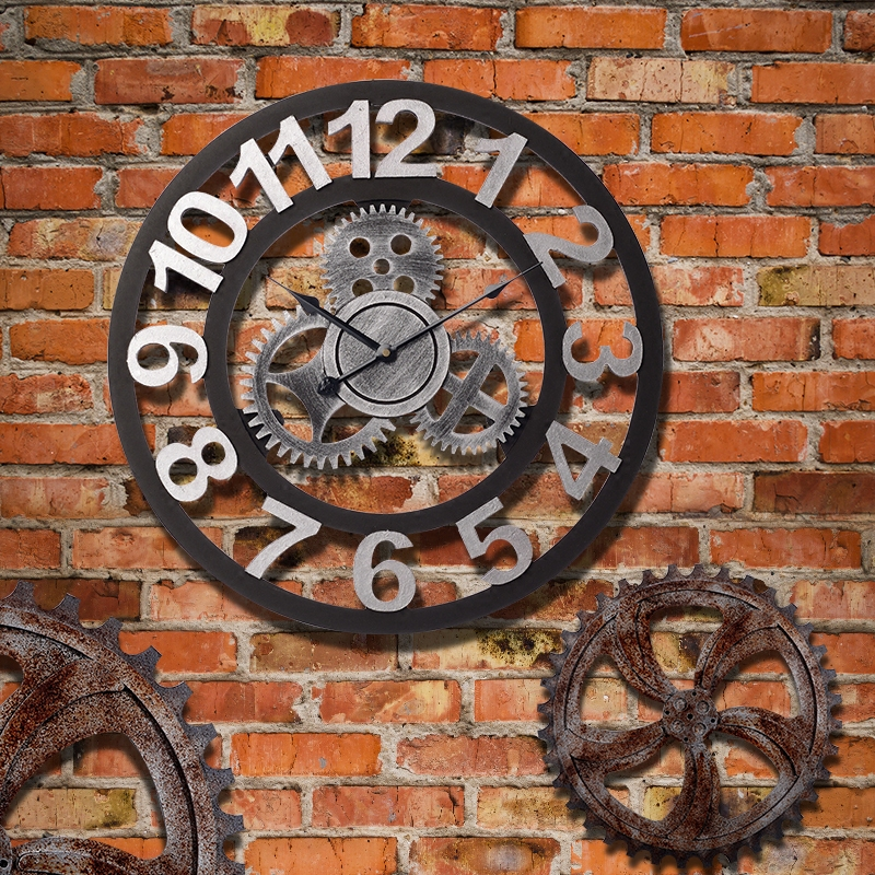 Loft style retro industrial gear clock creative wall clock wall clock shop bar cafe personalized decorative wall