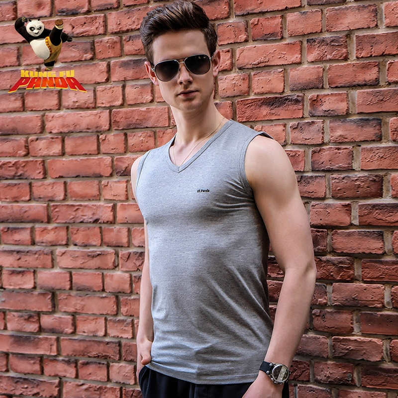 Men's kung fu panda ctnr wide shoulder v-neck t-shirt slim bottoming sports vest cotton vest male summer influx of elastic force