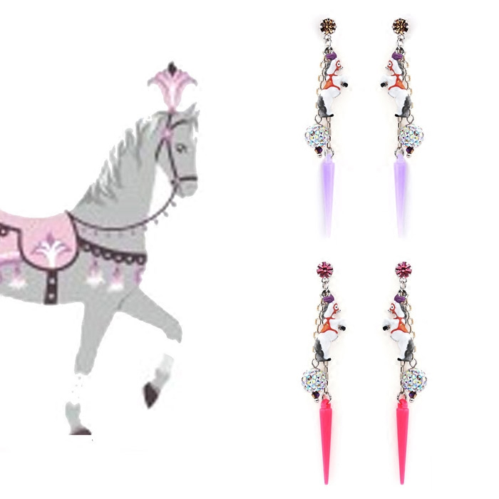 Mipenna/mi bona japan and south korea lovely wild ballet theatrical cartoon horse earrings earrings female long section gift
