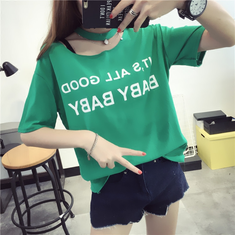 Qiç±³ms. candy colored letters short sleeve t-shirt 2016 new women korean female summer day dress summer students