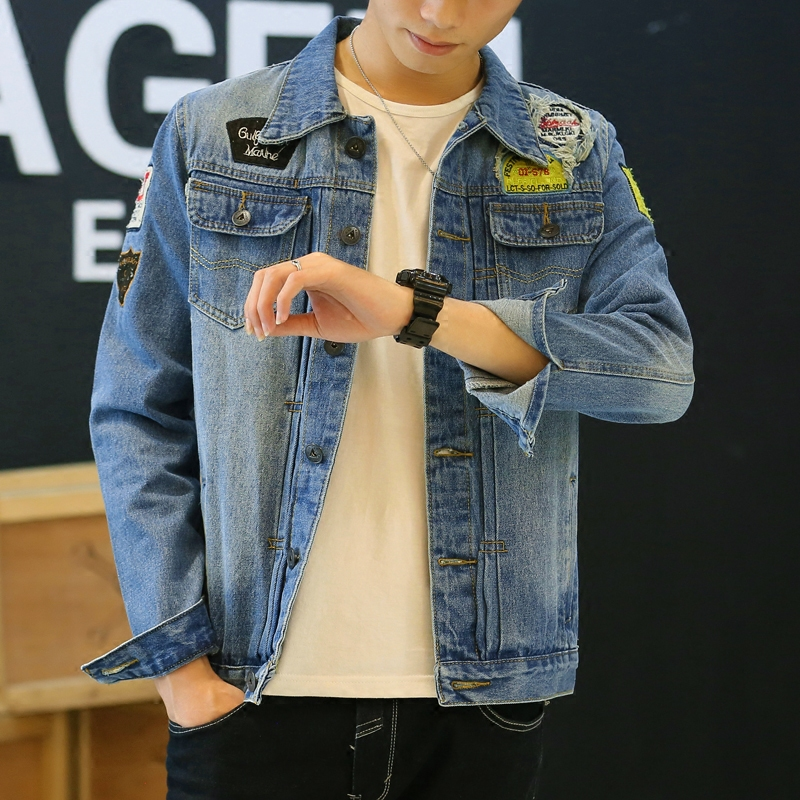 Retro summer influx of men denim jacket denim jacket men spring and autumn thin slim korean version of the trend of jeans jacket denim jacket coat