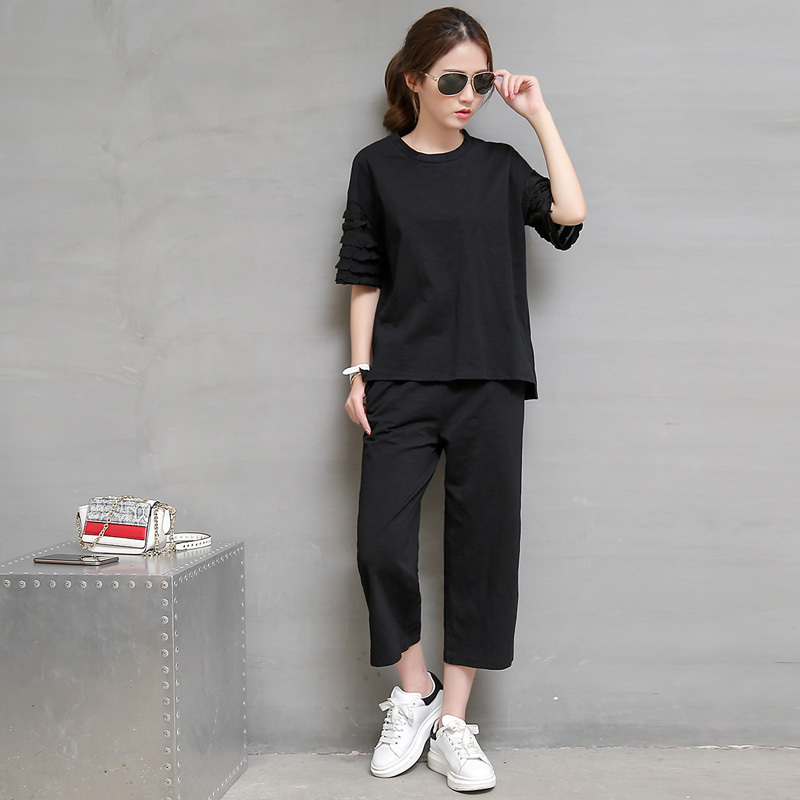 Summer short paragraph slim suit summer paragraph korean women casual sportswear sports suit summer at the beginning of the summer of small stature