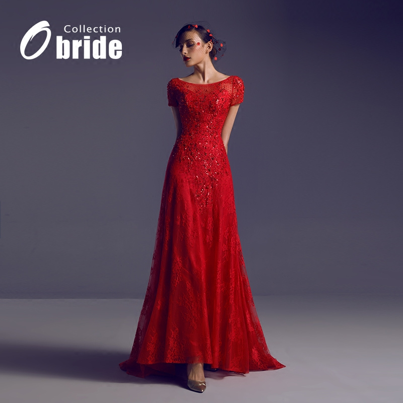 The new word shoulder fishtail wedding dress red short sleeve vintage short sleeve yarn bride wedding dress toast clothing annual meeting