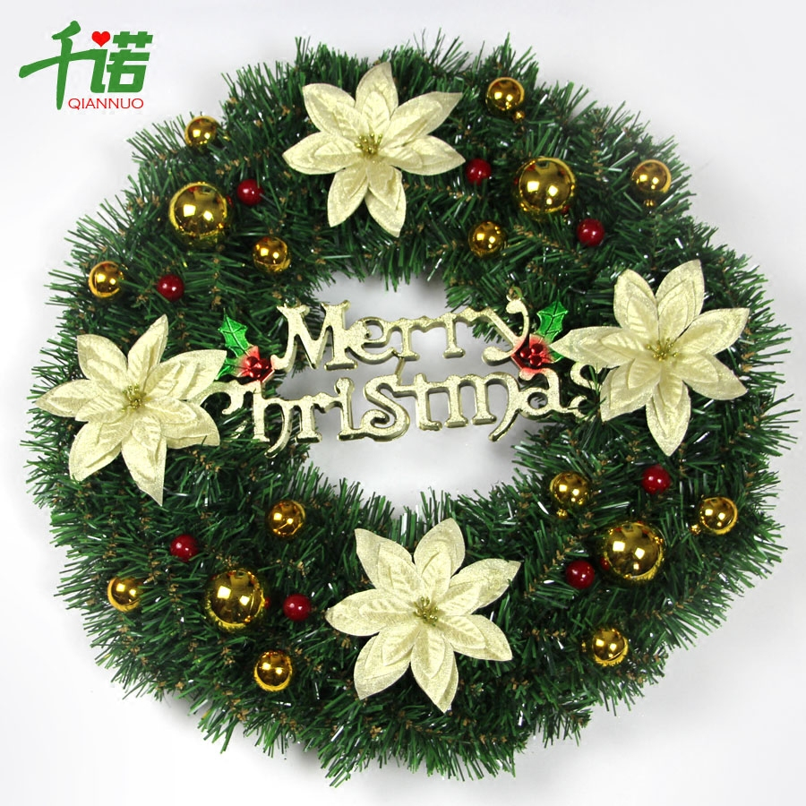 Thousands of connaught christmas decorations christmas tree christmas wreath 50cm golden decoration door hanging christmas wreath decorated pink
