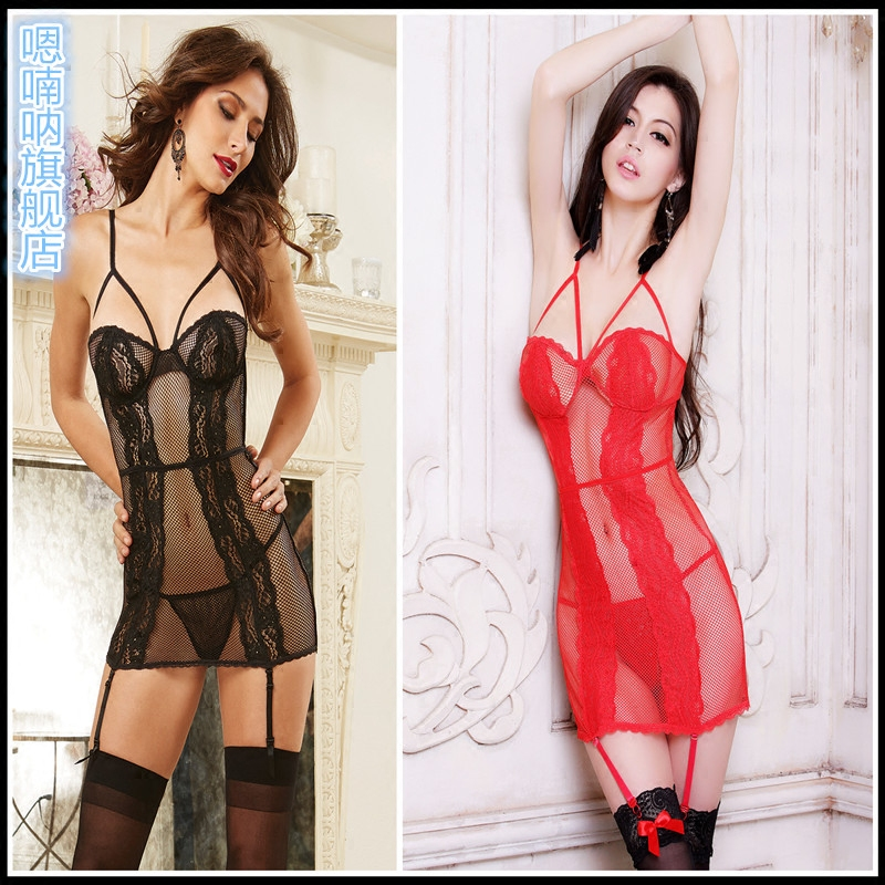 Transparent lace sexy pajamas female summer hot female short sling lingerie lace net yarn stitching female