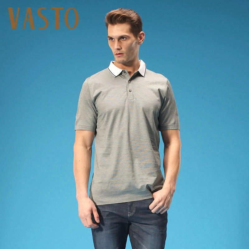 Vasto/vasto vasto 14110510 spring and summer mercerized cotton men's business lapel short sleeve t-shirt 2