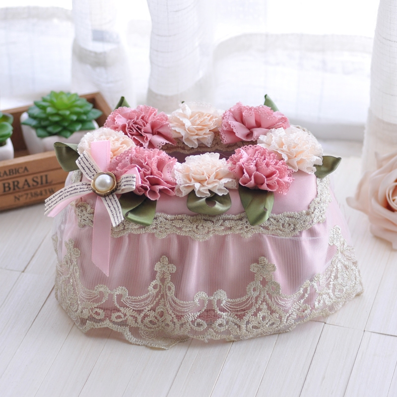 Xinyi european fabric tissue box creative pastoral lace tissue restaurant living room desktop plastic pumping cardboard box