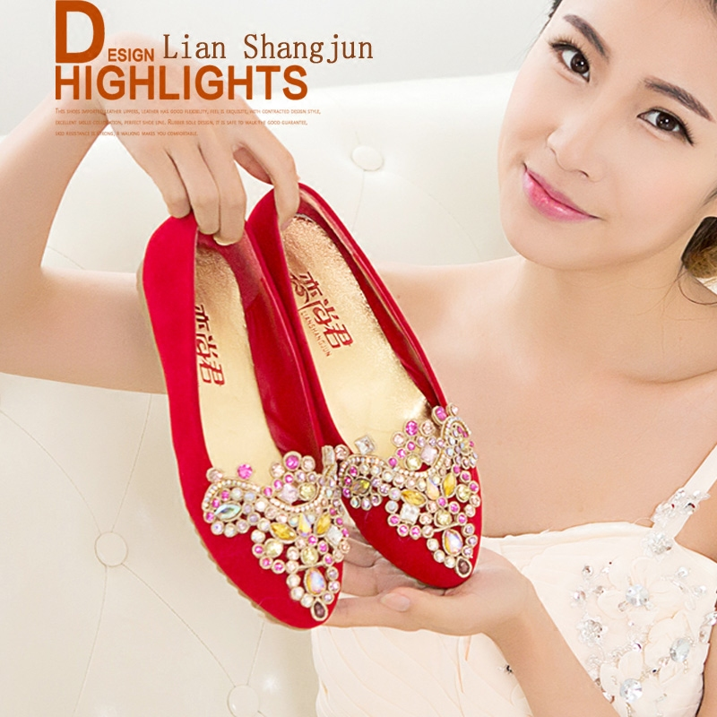 2016 diamond wedding shoes women flat red qipaos water crystal round diamond single shoes with flat shoes wedding shoes bridal shoes
