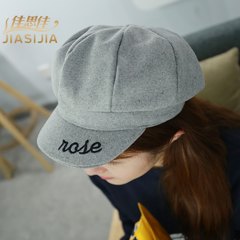 7c2d3c945609b 2016 girls fall and winter hat embroidered letters college wind woolen hat  octagonal cap newsboy cap