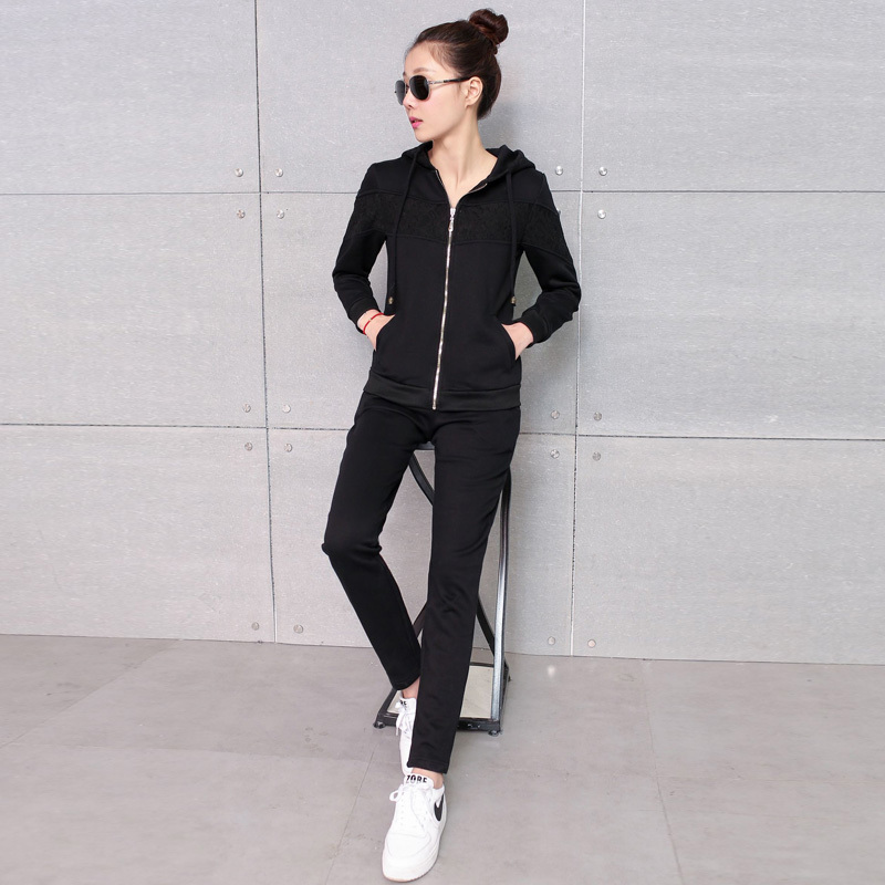 2016 korean version of the piece pants sports suit women's casual sports spring new casual sports suit