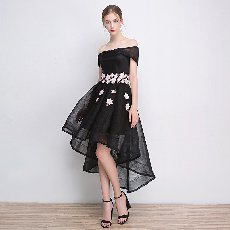 2016 new autumn and winter fashion word shoulder black evening dress short in front long presided over the banquet will dress dress women