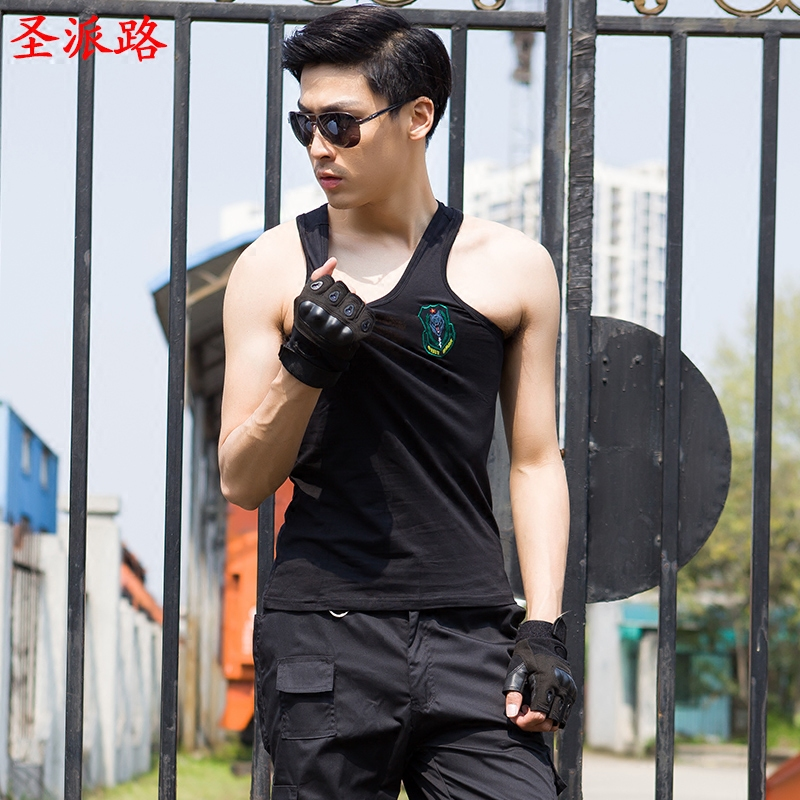 Army fans outdoor fitness clothing t-shirt 07 of men in tight black stretch commando security training and tactical vest vest