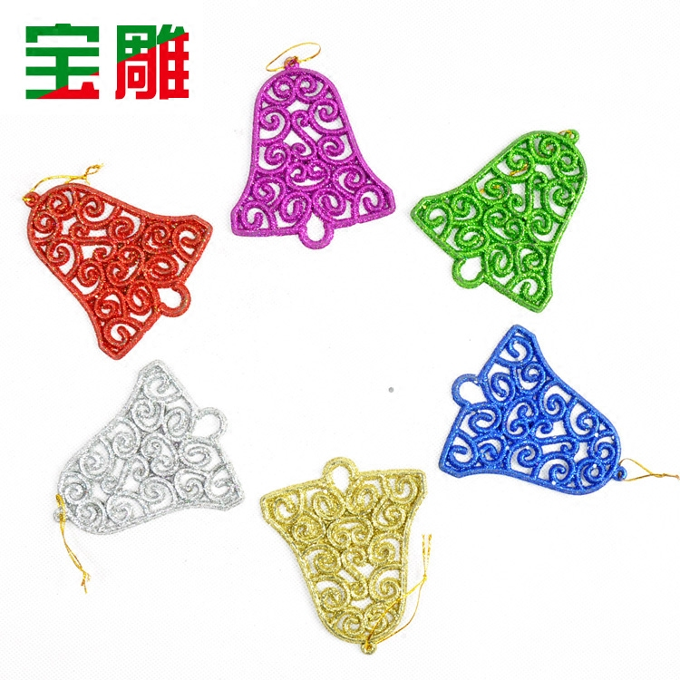 Bao carved accessorise holiday decorations christmas tree decorations christmas bells christmas tree ornaments powder