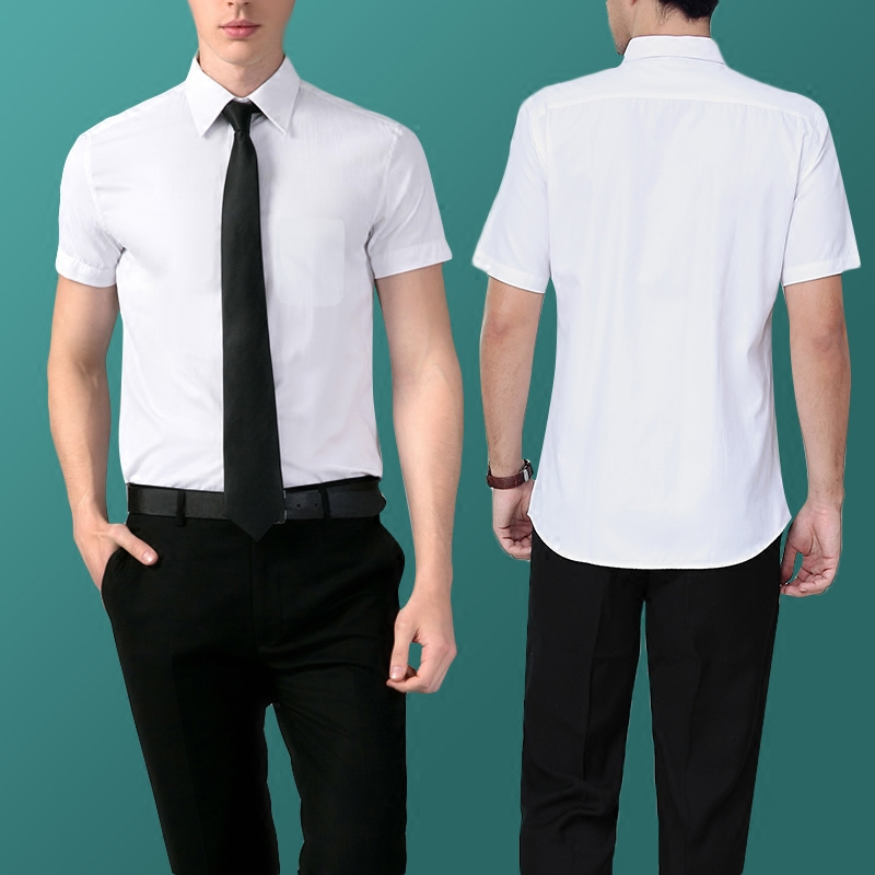 Career suits business professional women's skirt suits ol temperament slim short sleeve white shirt shirt tooling men and women the same paragraph