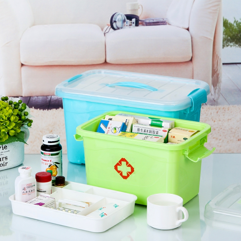 Family medicine cabinet with king multilayer plastic children's medicine health medicine storage box first aid kit storage box