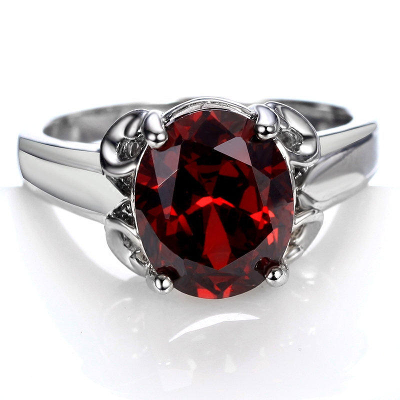 Flammable volcano burgundy crystal synthetic zircon ring fashion female models in europe and america atmospheric noble middle finger ring finger ring