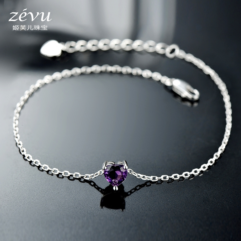 Fu ji children 925 silver bracelets female natural amethyst gemstone jewelry love japanese and korean version of sweet couple fine jewelry