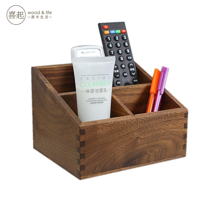 Hi hi play walnut wood desktop debris storage box remote control storage box wooden box cosmetic finishing