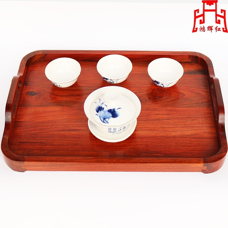 Honghui red mahogany laos red rosewood mahogany wood tea tray rectangular tray storage tray paper tray saucer