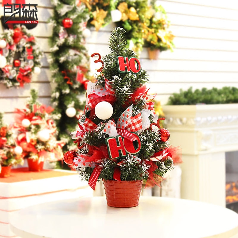 Lang sen red placed desktop christmas tree decorated christmas tree decorated christmas tree christmas decoration mall