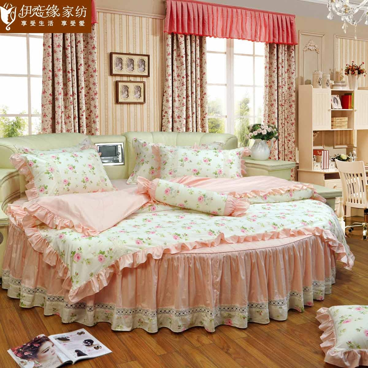 Love iraqi edge cotton round bed family of four ladies pastoral lace bedspread bed skirt round custom garden country