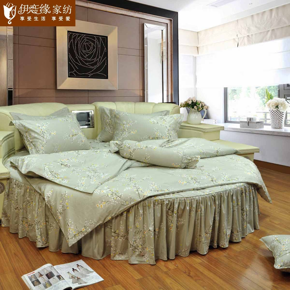 Love iraqi edge round bed family of four korean garden fresh cotton round bed skirt bedspread bedding custom xiangmei feelings