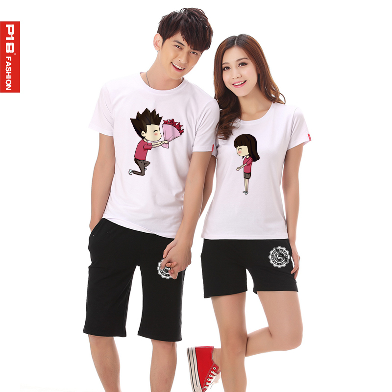 Lovers spring 2016 new korean version of the summer clothes summer suits for men and women lovers short sleeve t-shirt suit in summer and autumn