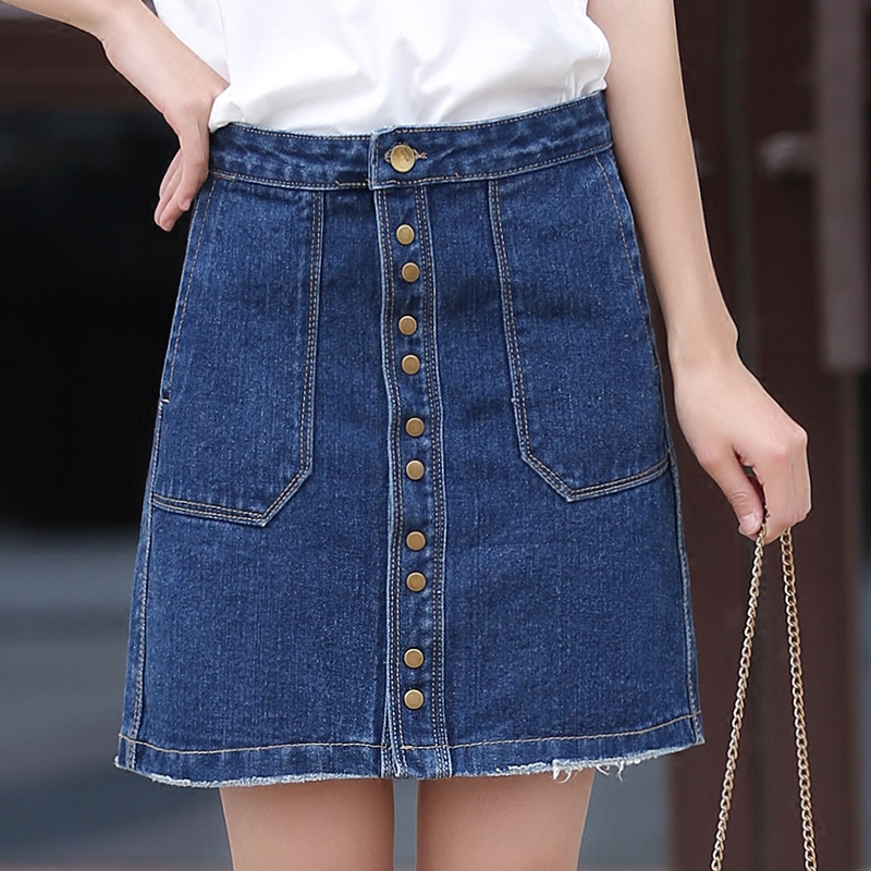 Poetry muya 2016 summer new denim skirts denim skirt female korean version of the single breasted skirt a-line dress women bag hip skirt
