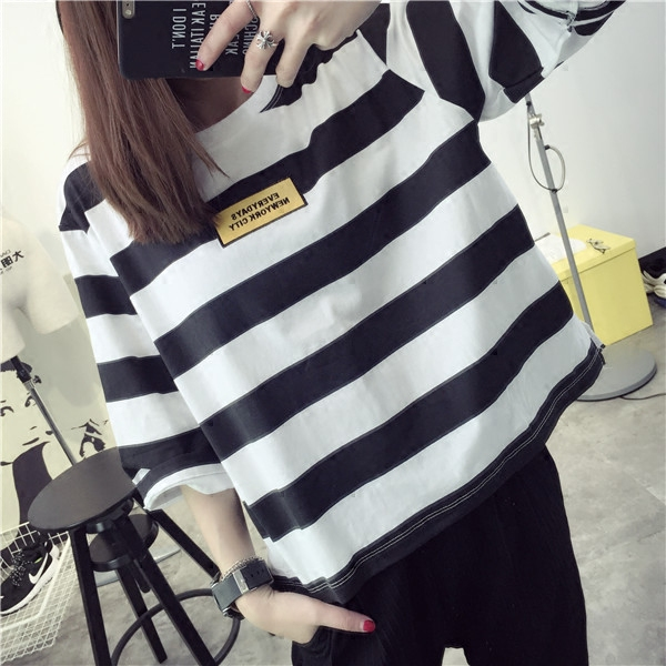 Qiç±³nine points sleeve striped t-shirt 2016 spring and summer clothes korean version of the influx of spring bottoming shirt blouse wild compassionate