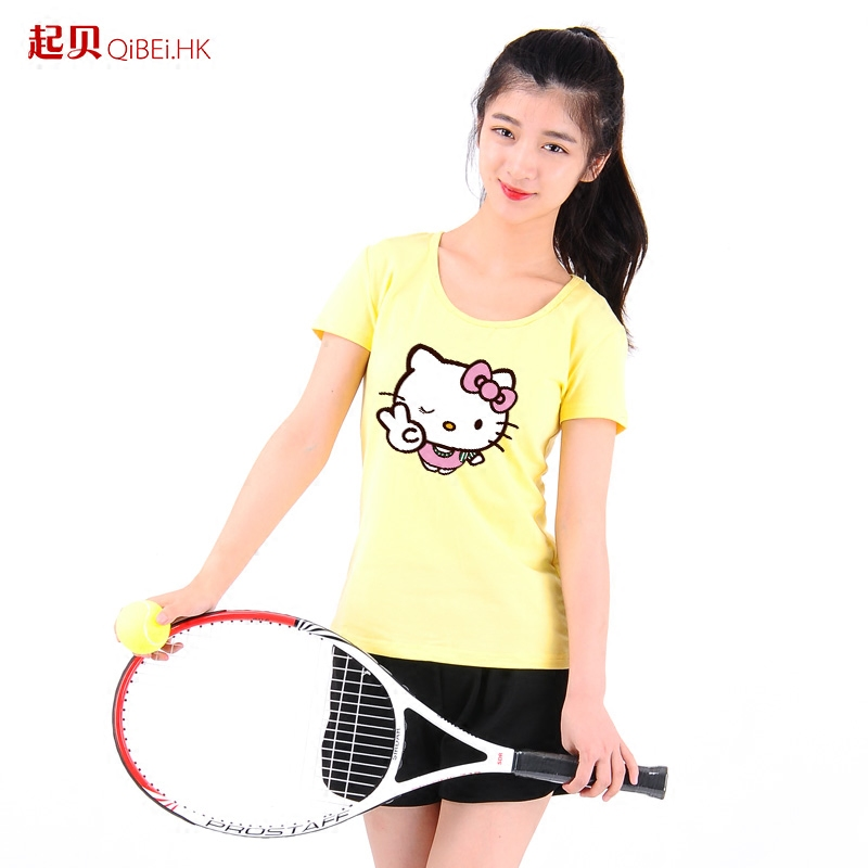 Since tony olds birthday hello kitty cute couple short sleeve t-shirt female clothes new korean fan coat students
