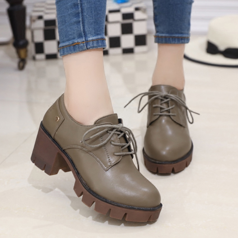 Spring and autumn 2016 new student lace shoes korean version of the small college wind shoes with a single round in the rough with women shoes