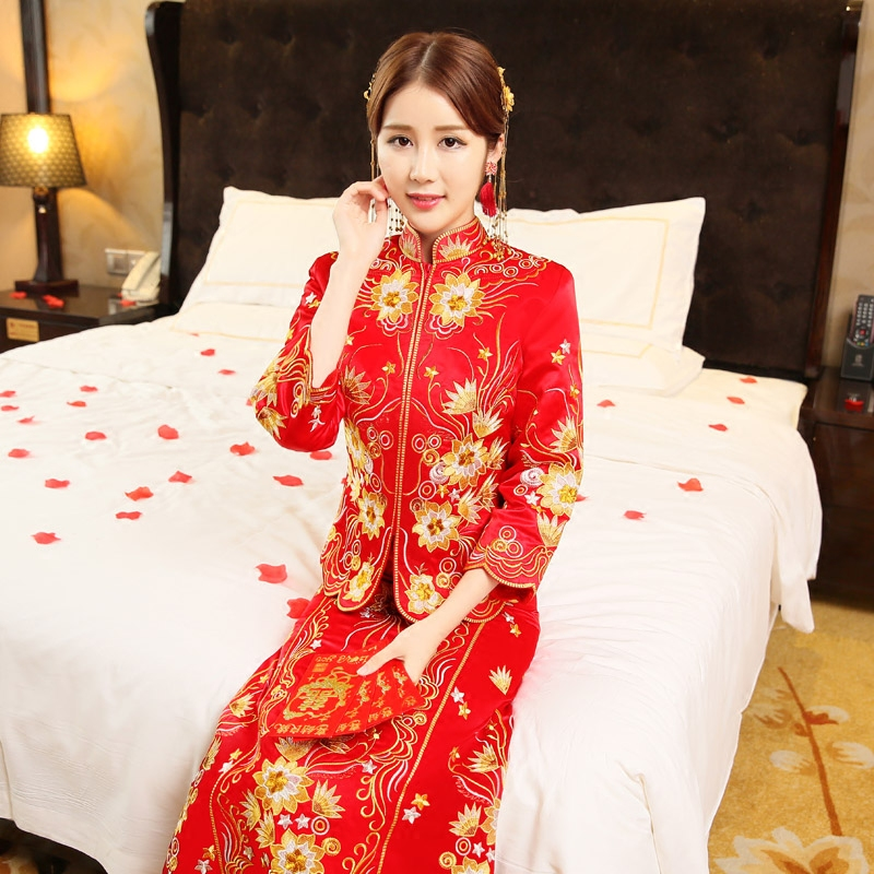 The new xiu bride dress red chinese dragon and phoenix gown wedding dress toast clothing retro cheongsam cheongsam dress summer wedding dress wedding dress