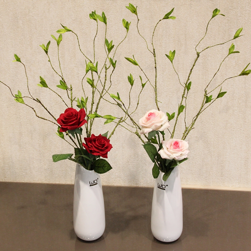 Wo + artificial flowers artificial flowers rose twigs bud ceramic vase table decoration flower floral suit home