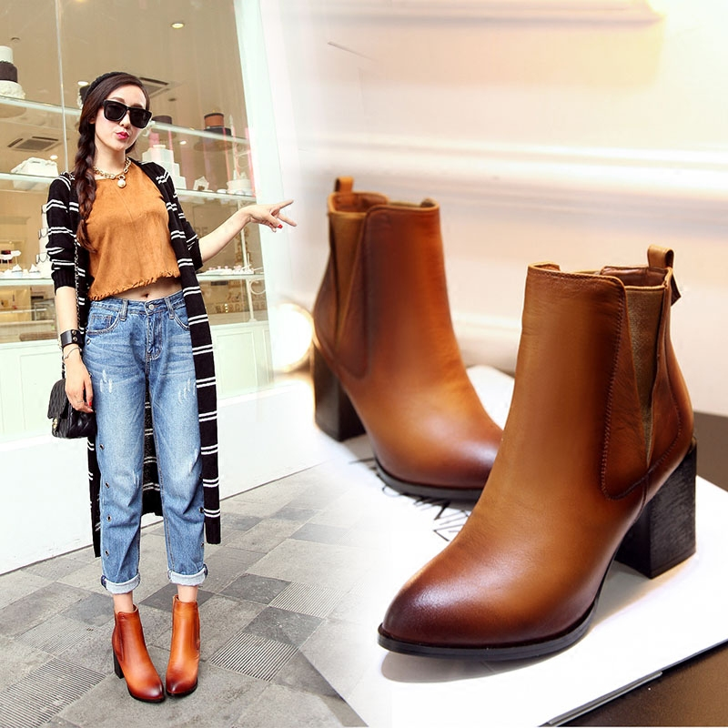 3d12187057a6 Get Quotations · 2016 autumn and winter new british style retro leather  pointed rough with short boots boots martin