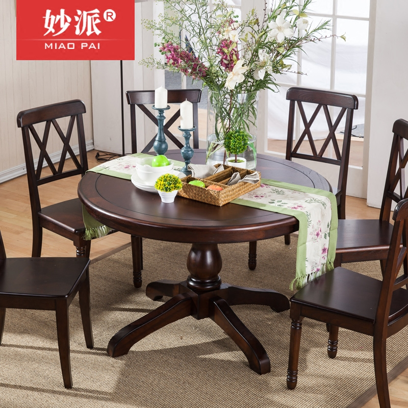 Get Quotations · American Country All Solid Wood Round Dining Table 4  People 6 People 1.2 M Round Table