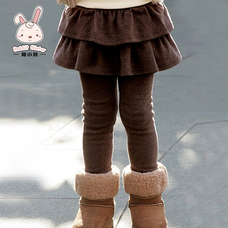 Autumn 2016 new children's children's clothing girls leggings culottes outer wear girls skirts spring and autumn paragraph long pants plus velvet
