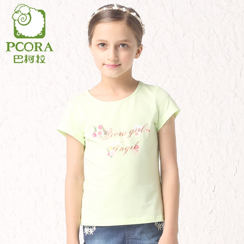 Bake la pcora kids girls new summer 2016 children's t-shirt girls word female floral shirt tide