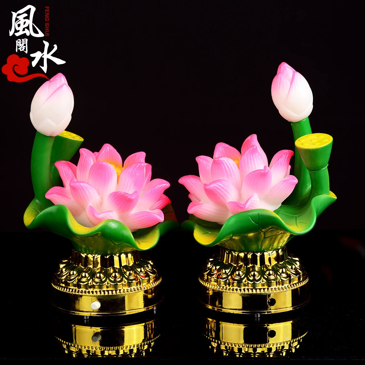 Colorful lotus lamp ornaments feng shui court tribute temple supplies led candle light worship buddha lamp for long light