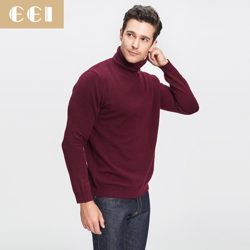 EEI2015 cashmere sweater with high collar men's thick 100% pure cashmere knit sweater bottoming pure color cashmere sweater men