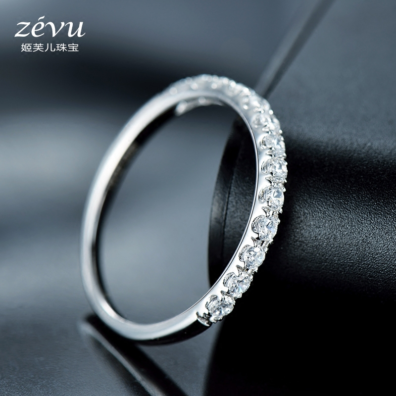 Fu ji children korean version of the simple silver rings female ring 925 silver rhodium ring simulation diamond ring row diamond ring gift