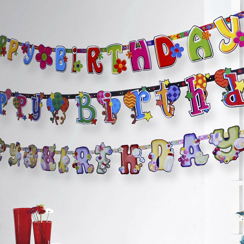 Haha children's birthday party party supplies party arranged dress alphabet banner hanging strips brace pull the flag
