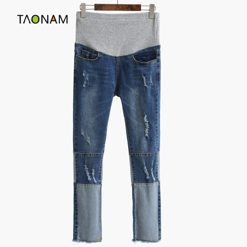 Hole jeans pants pregnant women pregnant belly care of pregnant women pants trousers spring new korean fashion slim feet trousers tide models