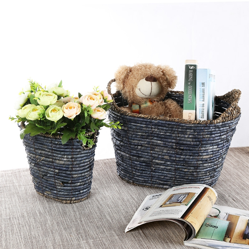 Kens handmade straw storage basket toy storage box home storage basket plants flower american pastoral
