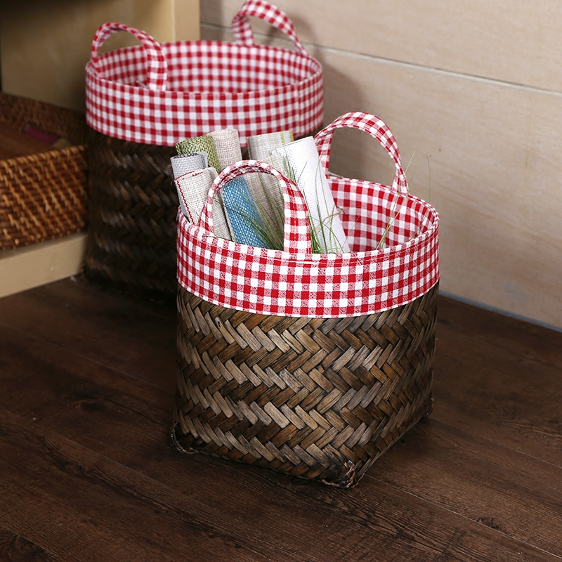 Kens imported bamboo bathroom bedroom handle laundry basket laundry bucket toy storage basket basket with cloth