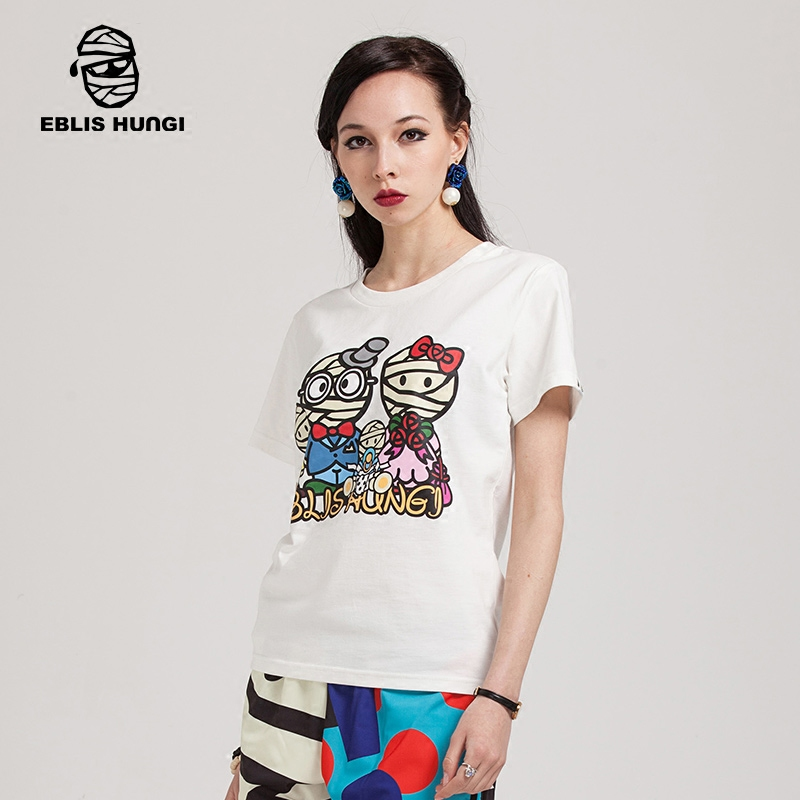 Ms. mummy eblishungi design tide brand cartoon printed round neck t-shirts for men and women couple models short sleeve tide