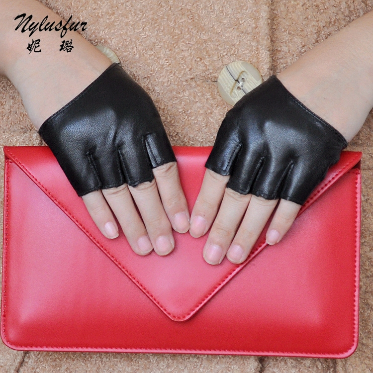 Nylusfur nilu fashion half palm gloves half finger leather gloves sheepskin gloves motorcycle gloves hip-hop female halter