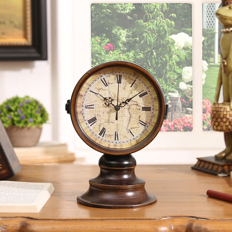 Oak manor classic european and american to do the old wrought iron ornaments retro world map sided clocks sit bell ornament