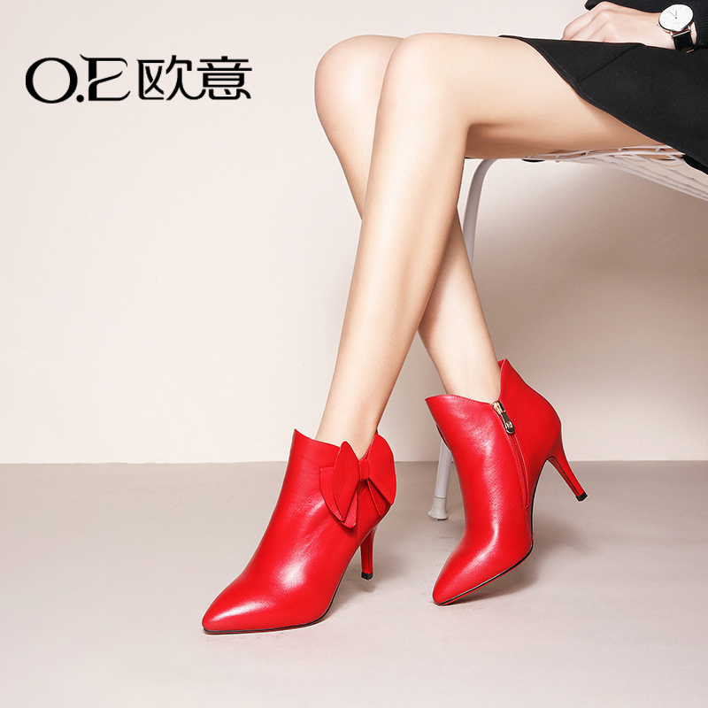 Oe europa 2016 autumn new european style stiletto leather bow pointed zipper boots and bare boots