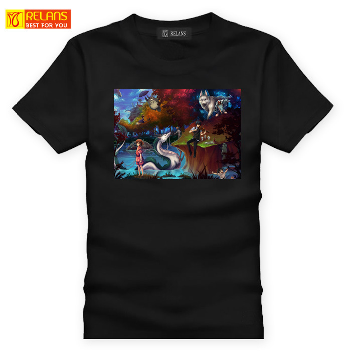 Relans J1195 ladieswear collection of works of hayao miyazaki anime cartoon cotton men short sleeve t-shirt black